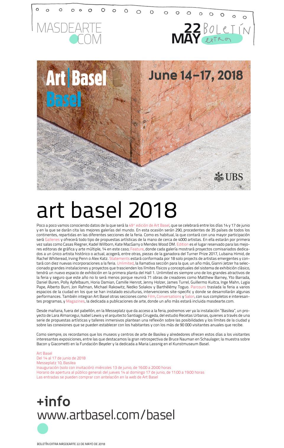 Art Basel. Del 14 al 17 de junio 2018