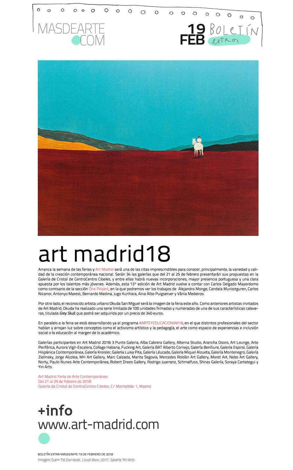 Arranca la semana de las ferias de arte contemporáneo en Madrid. Art Madrid18, del 21 al 25 de febrero de 2018
