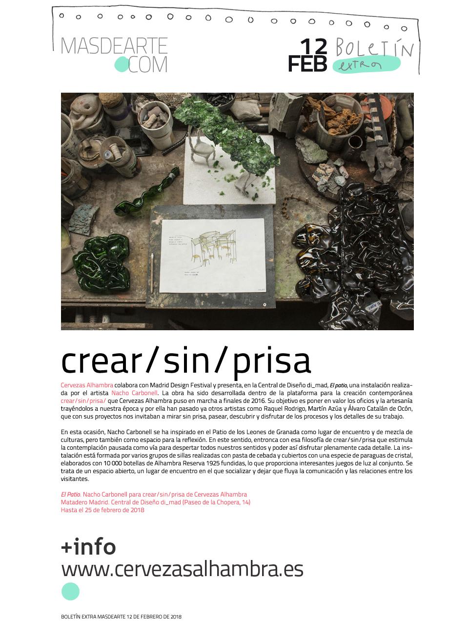 Extra masdearte: Nacho Carbonell presenta su trabajo para crear/sin/prisa en Madrid Design Festival