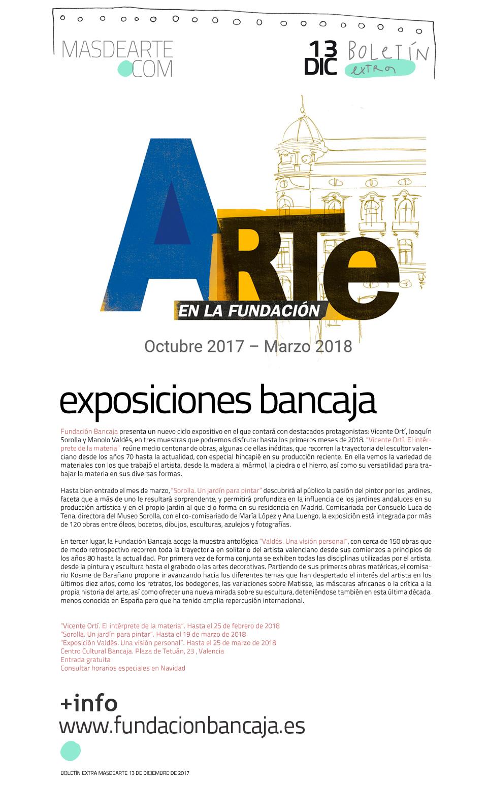 Extra masdearte: programación de exposiciones  en Bancaja: Ortí, Valdés y Sorolla