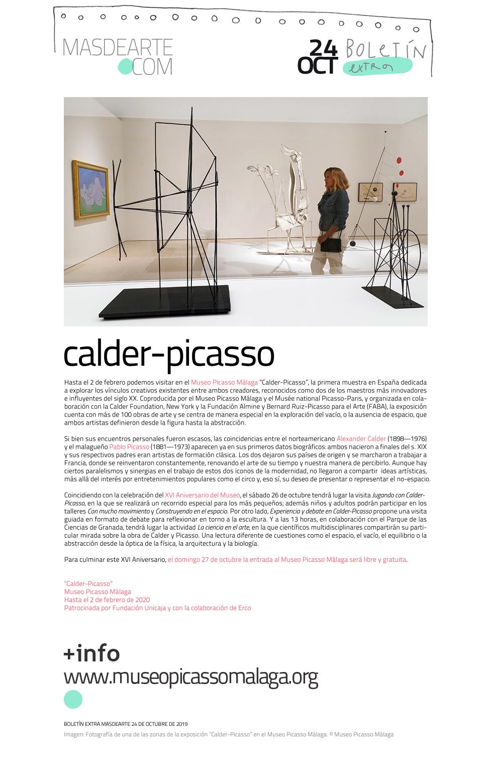 Extra masdearte: ''Calder-Picasso'' en el Museo Picasso Málaga, que  celebra su 16 aniversario con diferentes visitas para todos los públicos