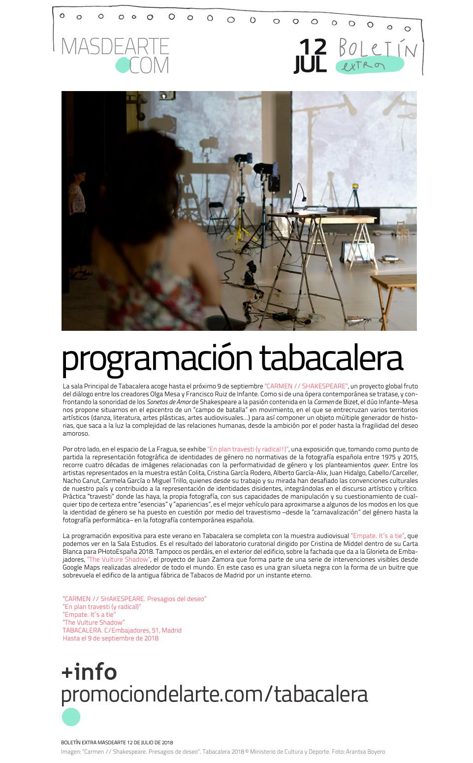 Programación expositiva en Tabacalera de julio a septiembre de 2018