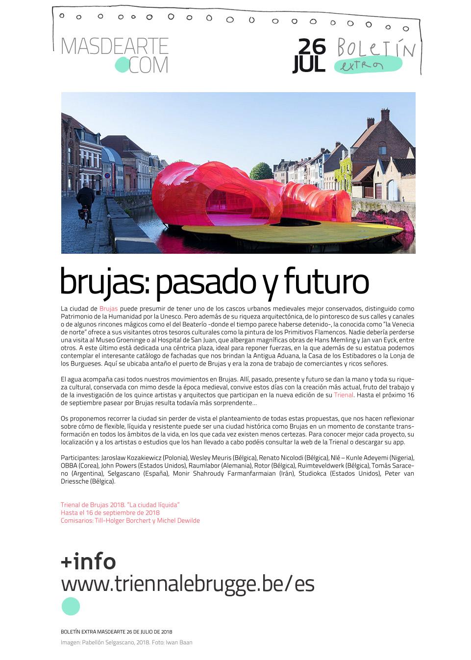 Extra masdearte: Brujas, una ciudad que fluye con el agua. Trienal  de Arte y Arquitectura 2018