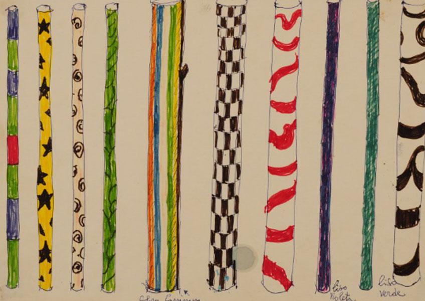 Lina Bo Bardi, Estudio de mástiles para la exposición Caipiras, Capiaus: Pau-a-pique, 1984.