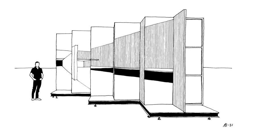 Esbozo del proyecto en el Patio Herreriano de Valladolid diseñado por los comisarios Óscar Miguel Ares Álvare, Anna Bach y Eugeni Bach