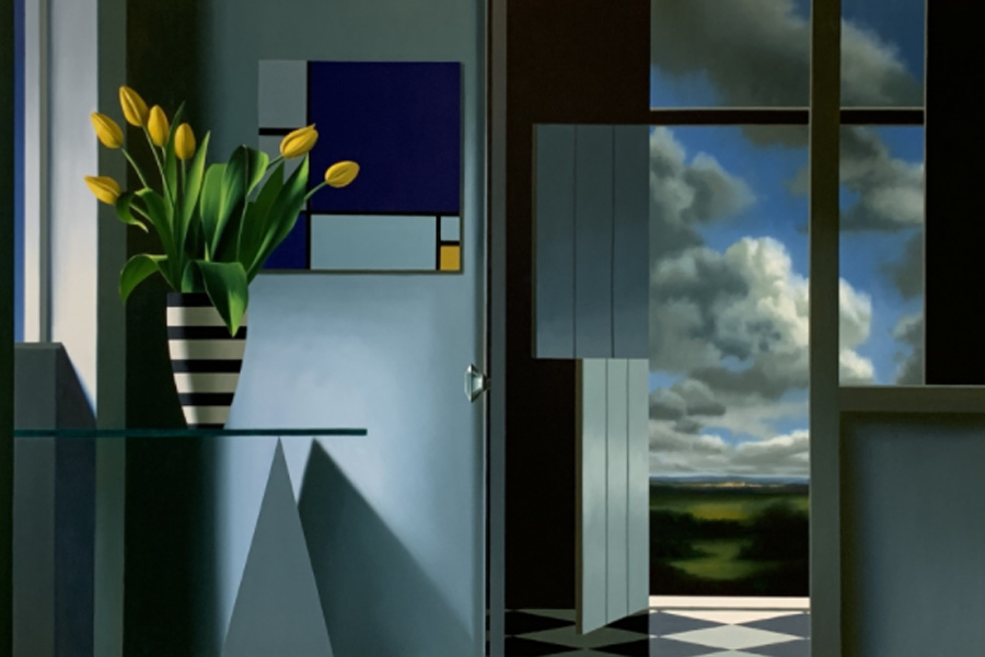 Bruce Cohen. Interior with Yellow Tulips and Mondrian, 2020