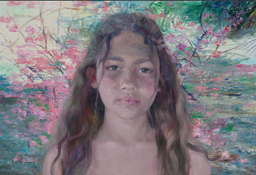 Leonor Solans. Niña y flora