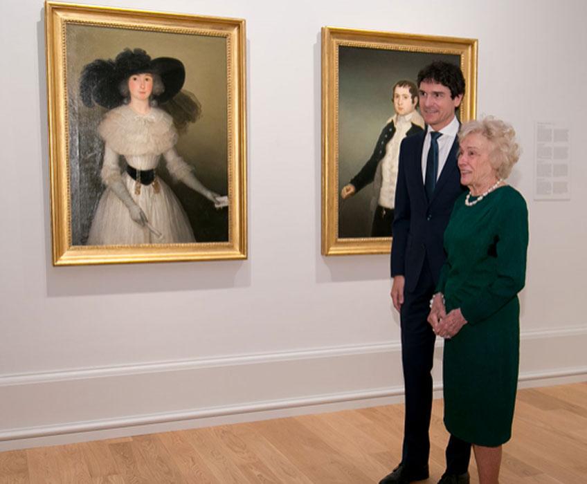 Unai Rementeria, diputado general de Bizkaia y presidente de la Fundación Museo de Bellas Artes de Bilbao en 2019 y Bibiñe Belausteguigoitia, viuda de José María Solano Gil-Delgado, marqués del Socorro