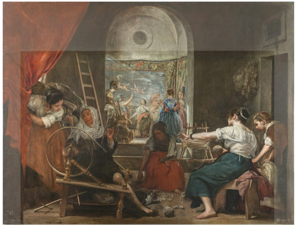 Imagen comparativa de la obra original y con los añadidos de Las hilanderas de Velázquez Foto © Museo Nacional del Prado