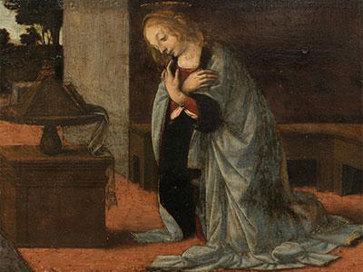 Leonardo da Vinci ¿?. Anunciación, hacia 1475-1479. Museo del Louvre