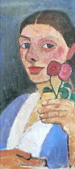 Paula Modersohn-Becker. Autorretrato con dos flores en la mano izquierda, 1907. MoMA