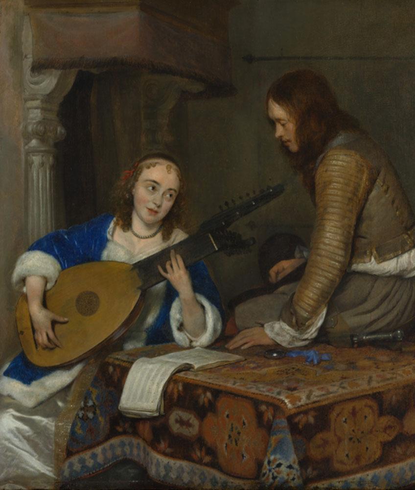 Gerard ter Borch el Joven. Mujer tocando una tiorba-laúd y caballero, hacia 1658. Metropolitan Museum