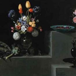 Juan Van der Hamen. Bodegón con alcachofas, flores y recipientes de vidrio, 1627