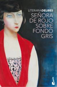 Señora de rojo sobre fondo gris. Miguel Delibes