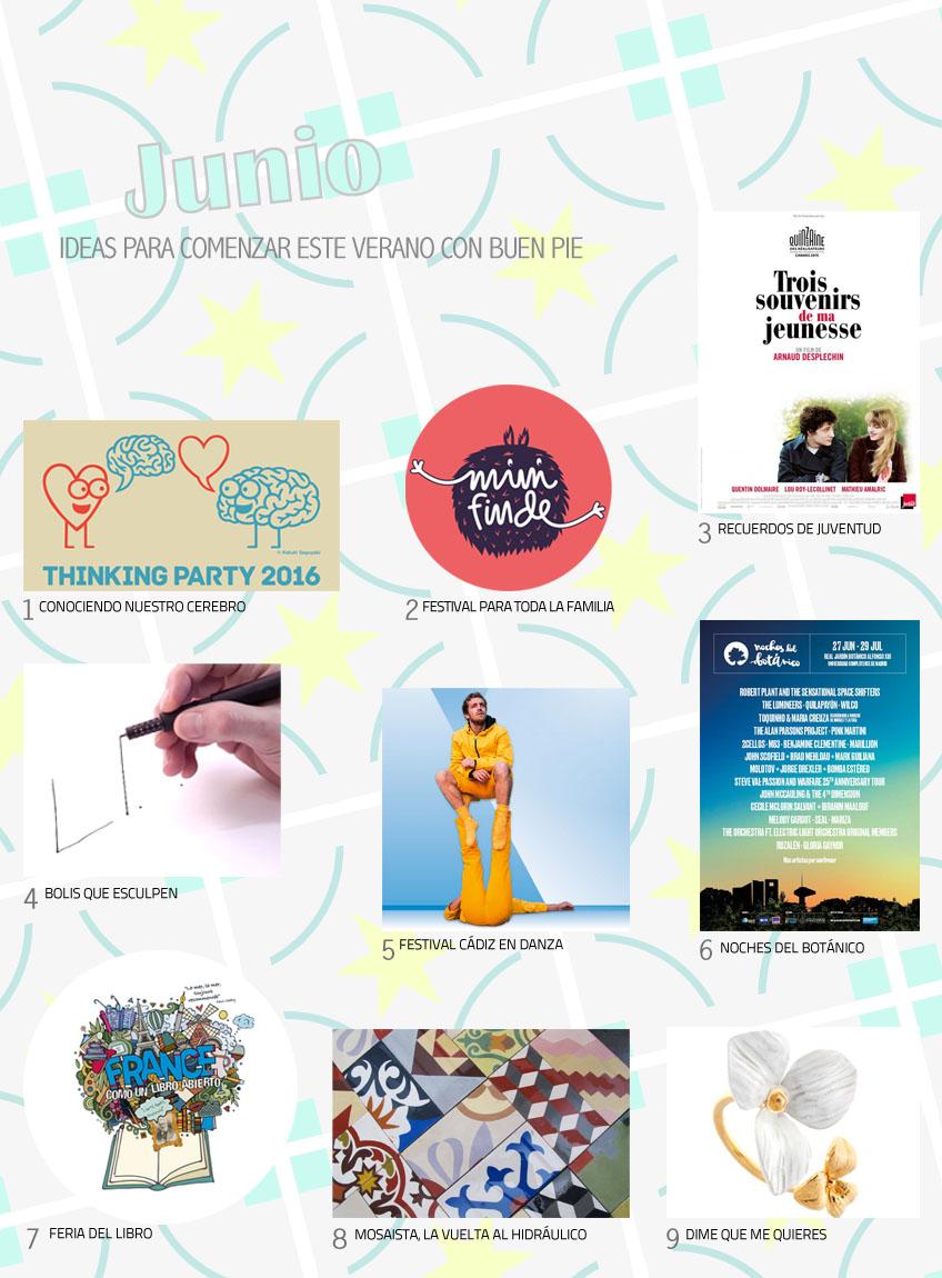 Planes para junio de 2016: Thinking party 2016, mini finde, festival Cádiz en danza, Noches del Botánico, Feria del libro de Madrid...