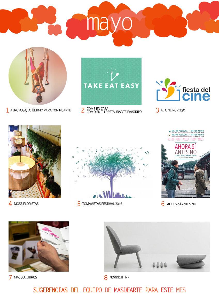 Sugerencias y planes para el mes de mayo (2016). Moss floristas, Tomavistas Festival, aeroyoga en Personal yoga studio, take eat easy, la fiesta del cine, masquelibros, nordicthink