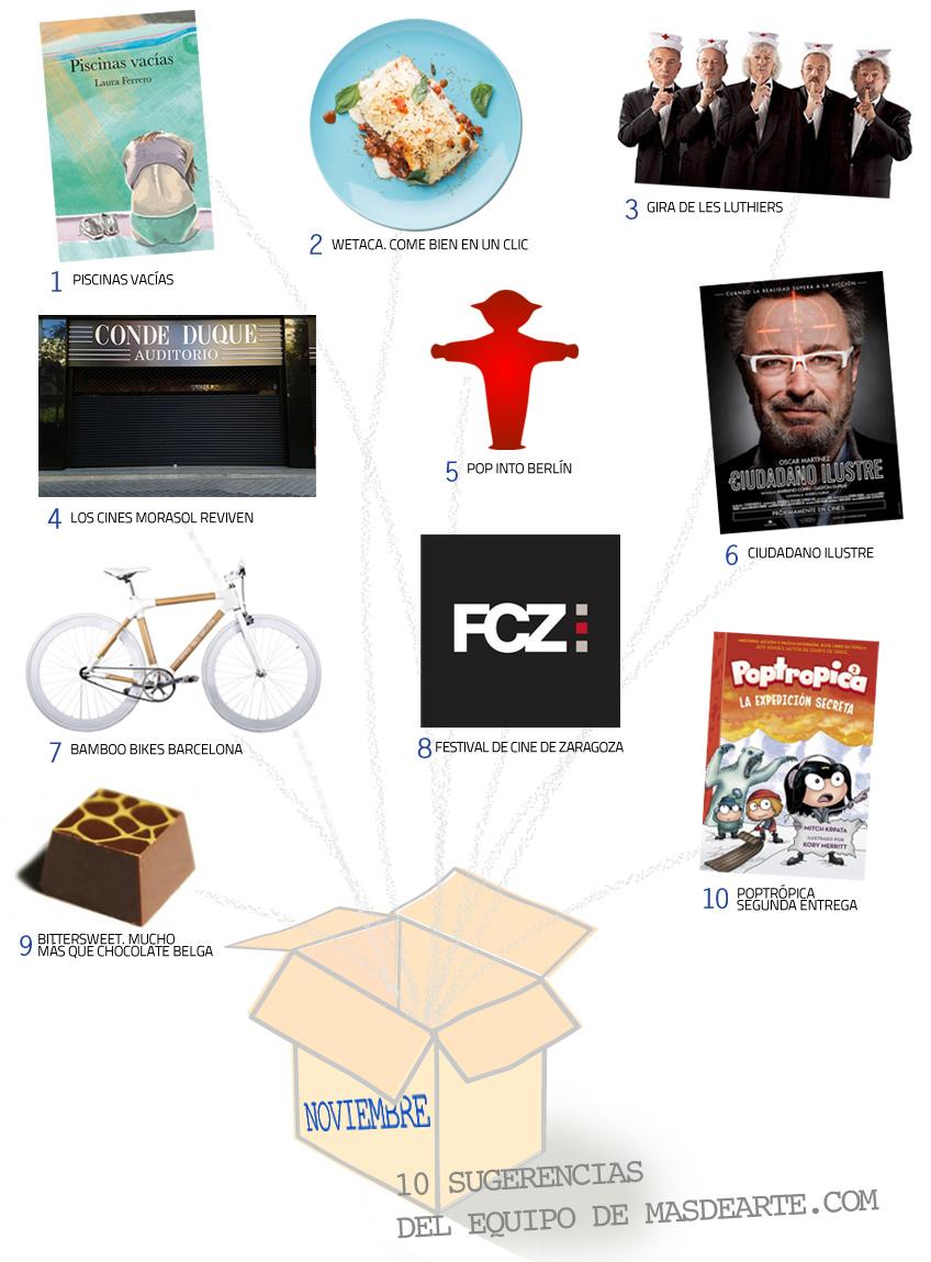 Entre las recomendaciones de masdearte para el mes de noviembre: Pop in Berlín, Poptrópica, Bamboo Bikes, Wetaca, Bittersweet chocolates belga, Piscinas vacías, gira de los Luthiers, reabren los Cines Morasol