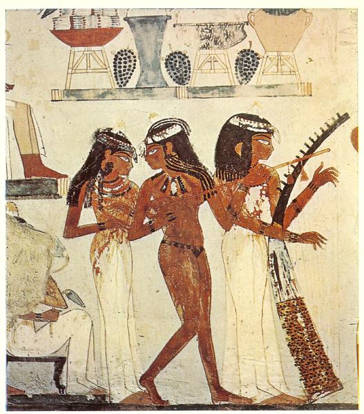 Escena de banquete en la tumba de Nakht, Sheik Abd el Qurn, hacia 1350 a.C.