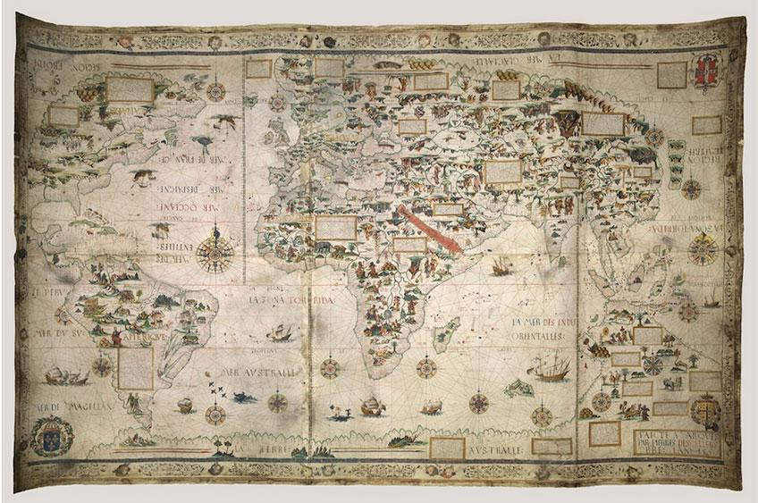 Mappa Mundi, Dieppe, 1550. Londres, British Library. © Pierre Desceliers