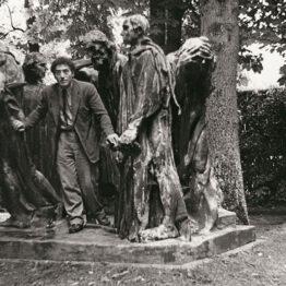 Audio: Alberto Giacometti en el parque de Eugène Rudier en Vésinet, posando junto a Los Burgueses de Calais de Rodin