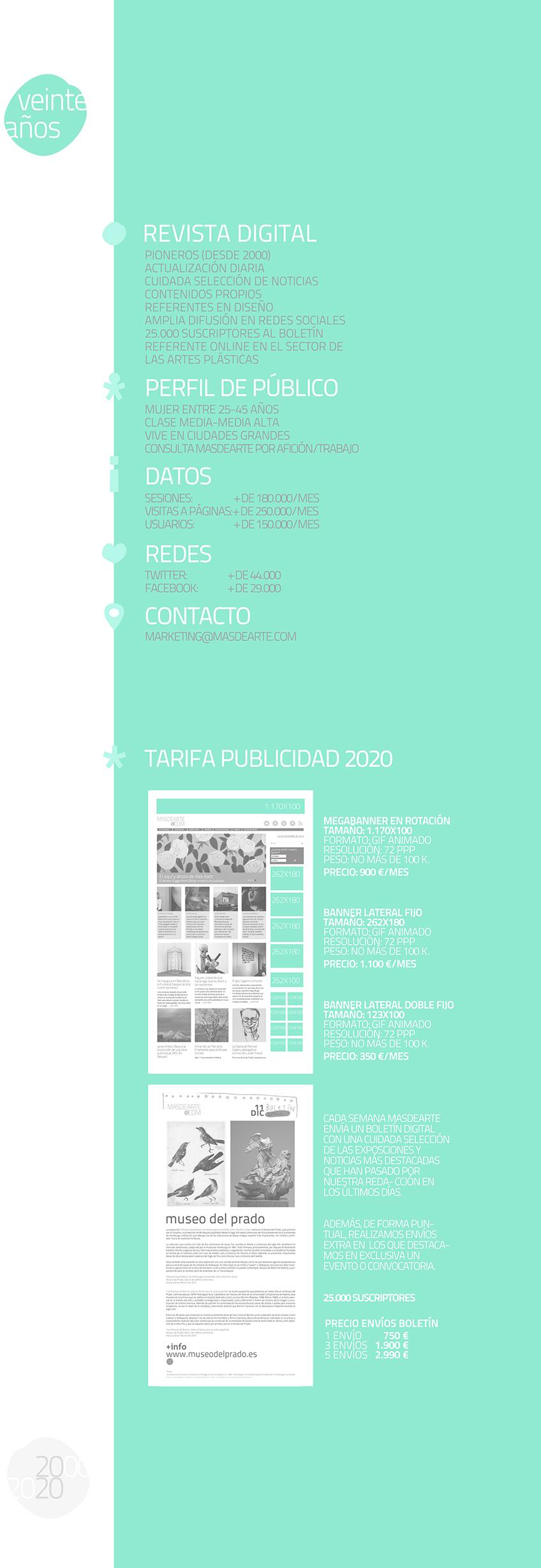 masdearte tarifas de publicidad 2020