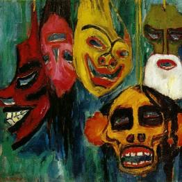Pintura expresionista. Nolde. Naturaleza muerta con máscaras III