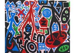 neoexpresionismo. A.R. Penck. Dreigeteiltes Problem Tripartite Problem, 2011