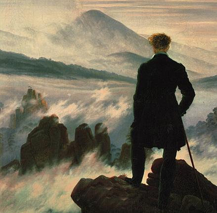 Friedrich. El caminante sobre el mar de nubes, 1818. Hamburger Kunsthalle