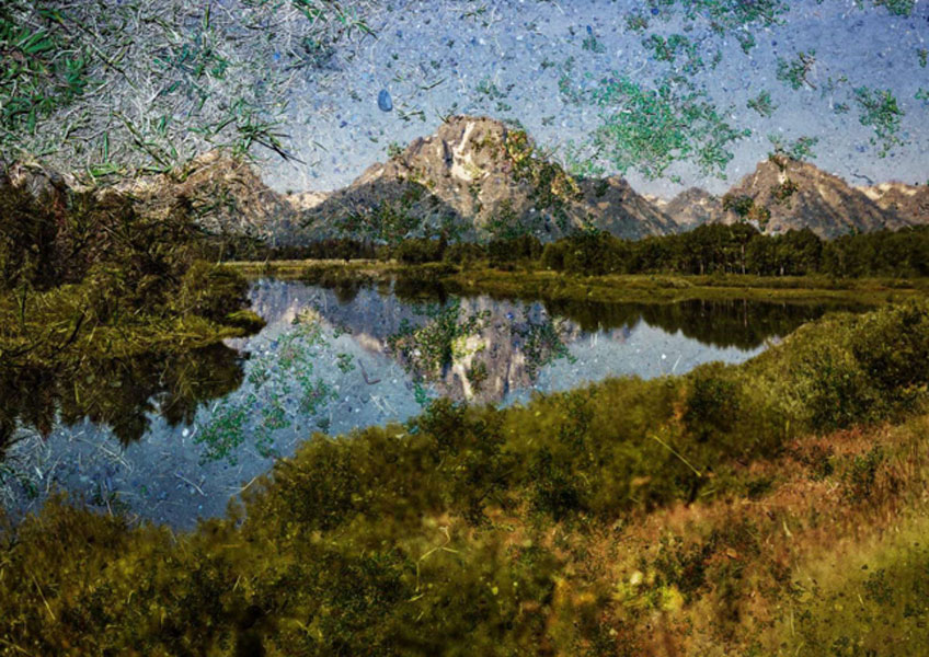 Abelardo Morell, Tent-Camera Image on Ground: View of Mount Moran and the Snake River from Oxbow Bend, Grand Teton National Park, Wyoming, 2011. Cortesía de Edwynn Houk Gallery
