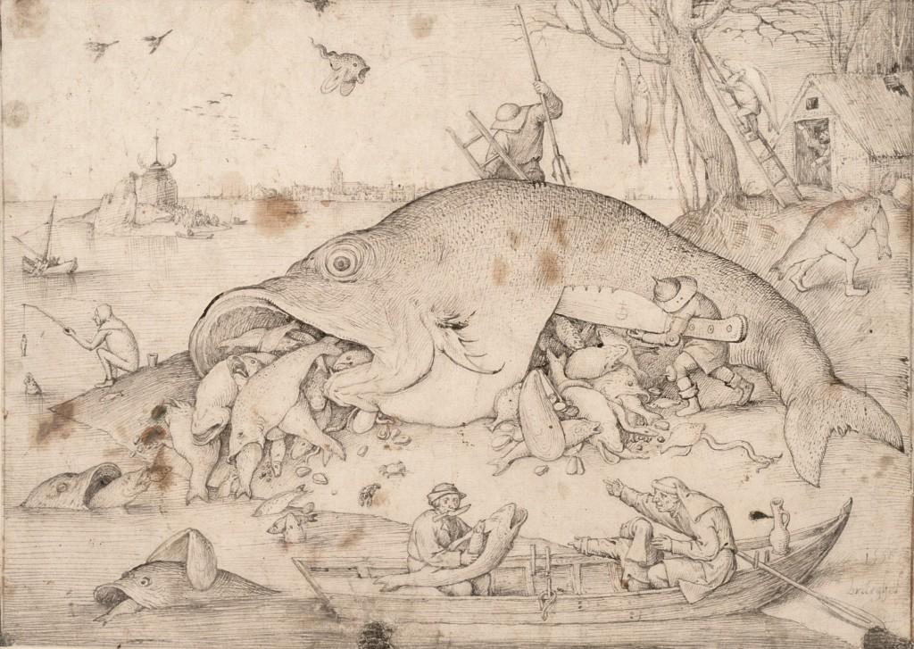 Brueghel el Viejo. Big Fish eat little Fish, 1556. The Albertina Museum, Viena