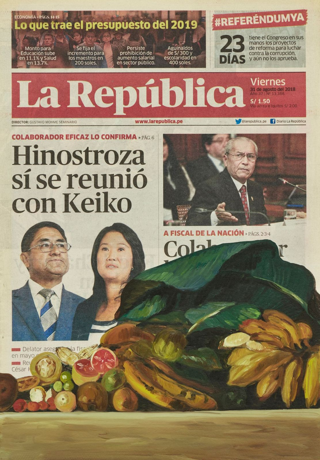 Sandra Gamarra. Naturaleza muerta sobre Realidad Peruana VII , 2019
