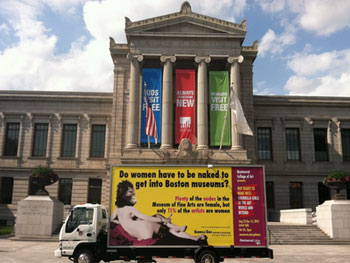 Guerrilla Girls. Do women have to be naked to get into the Met. Museum? Less than 5% of the artists in contemporary art sections are women, but 85% of the nudes are female
