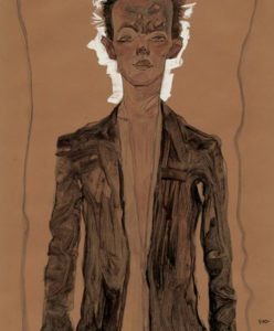 Egon Schiele. Self portrait in brown coat (fragmento), 1910