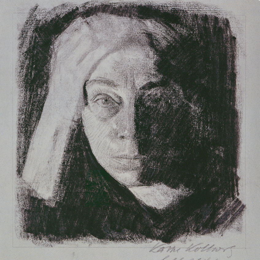 Käthe Kollwitz. Frontal self-portrait, hacia 1910. Käthe Kollwitz Museum Cologne Photo: Käthe Kollwitz Museum Cologne © 2019 Artists Rights Society (ARS), New York / VG Bild-Kunst, Bonn