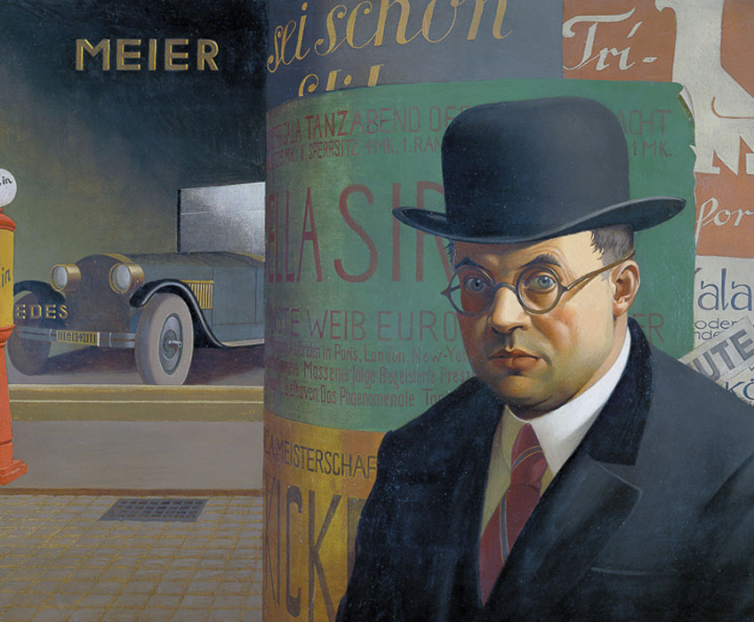 Georg Scholz. Self portrait in front of an advertising column, 1926. Staatliche Kunsthalle Karlsruhe, Photo: bpk Bildagentur / Staatliche Kunsthalle Karlsruhe / Art Resource, NY. © 2019 Artists Rights Society (ARS), New York