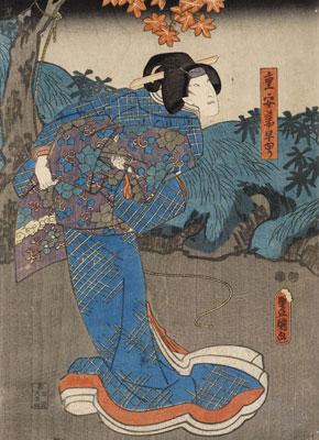 "Utagawa Kunisada. Onoe Kikujiro II/ Shigeyasu tsuma Sayuri, 1852-1853. Colección ""la Caixa"". © David Bonet"