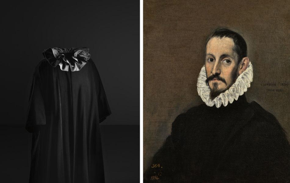 Cristóbal Balenciaga. Abrigo de noche con cuello fruncido, hacia 1955. Cristóbal Balenciaga Museoa El Greco. Retrato de un caballero, hacia 1586. Museo Nacional del Prado