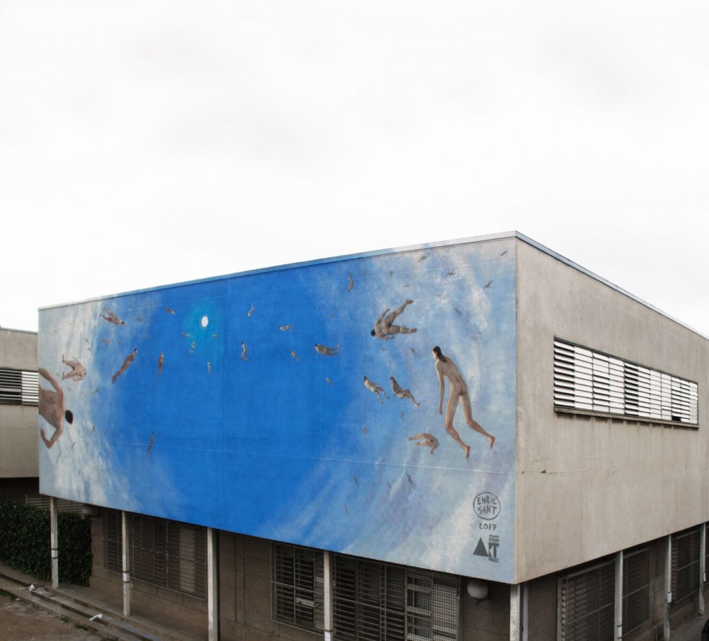Enric Sant. Mural para Tuenti Urban Art Project. Universidad de Barcelona