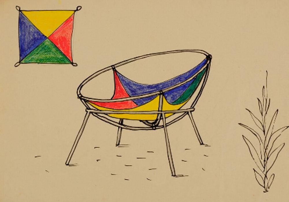 Lina Bo Bardi. Proyecto para una versión del sillón Bardi´s Bowl, 1951. Instituto Bardi
