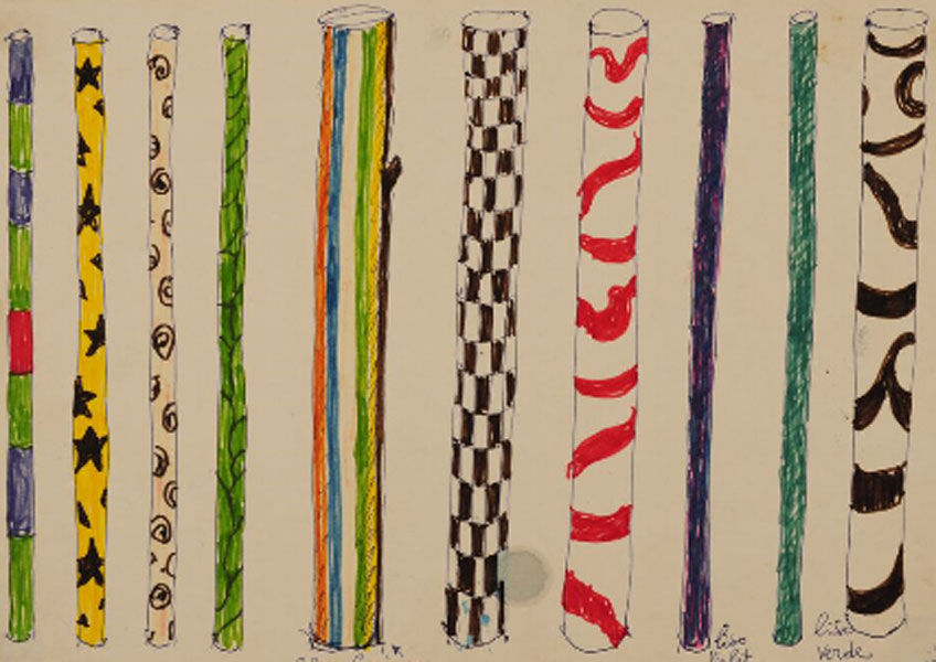 "Lina Bo Bardi. Estudio de mastiles para la exposición ""Caipiras, capiaus: pau a pique"", 1984. Instituto Bardi"