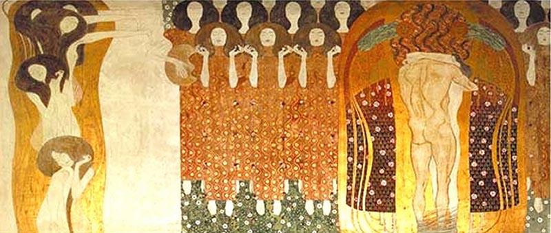Gustav Klimt. Friso Beethoven: Alegría, inspiración divina, 1902