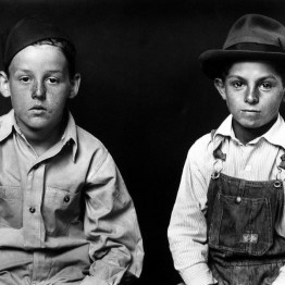 Mike Disfarmer. Two Young Boys, One in Overalls, 1939-46