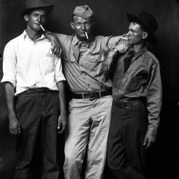 Mike Disfarmer. Homer Eakers, Loy Neighbors, Julius Eakers, Brothers-in-law, 1945