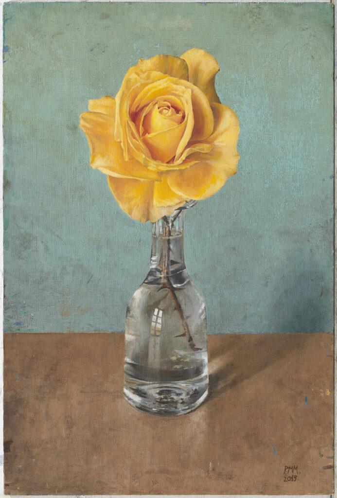 Pedro Moreno-Meyerhoff. Jarrón con rosa amarilla, 2019. Galería Marlborough Barcelona