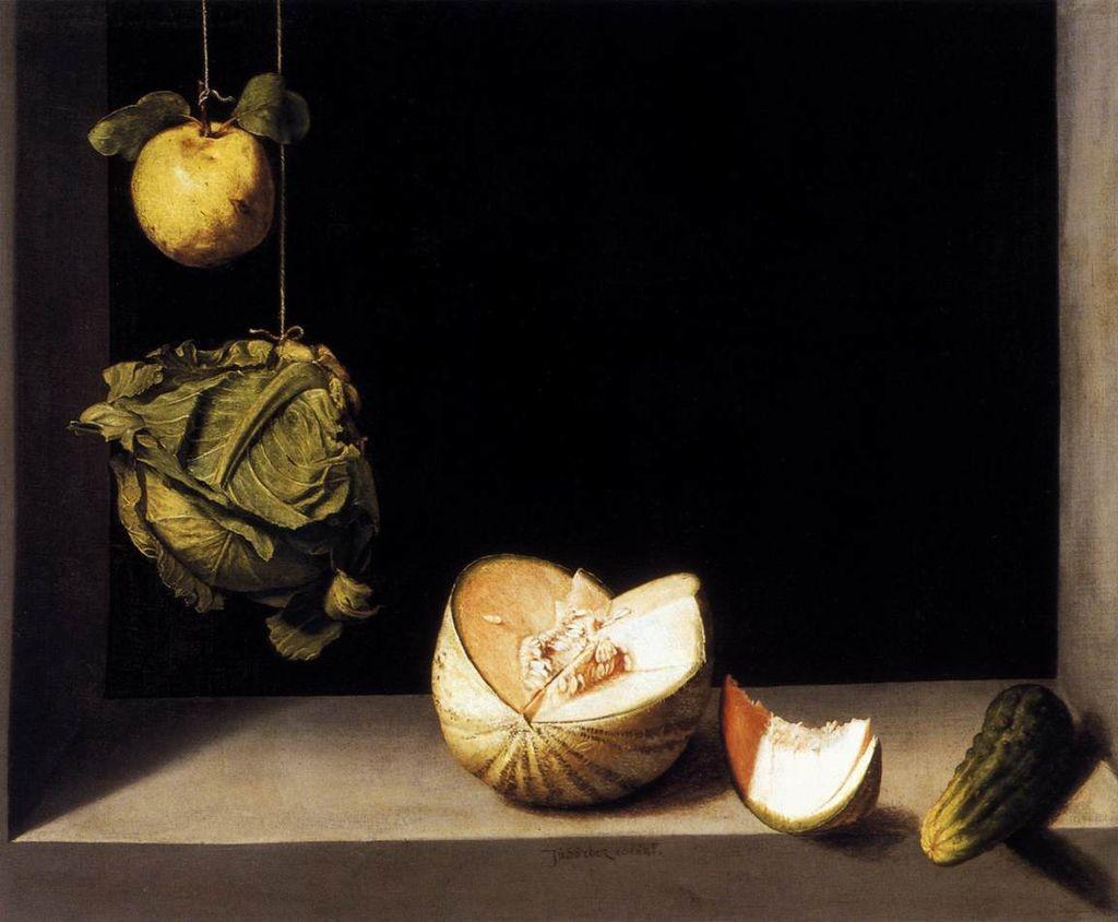Juan Sánchez Cotán. Bodegón con membrillo, repollo, melón y pepino, hacia 1602. The San Diego Museum of Art