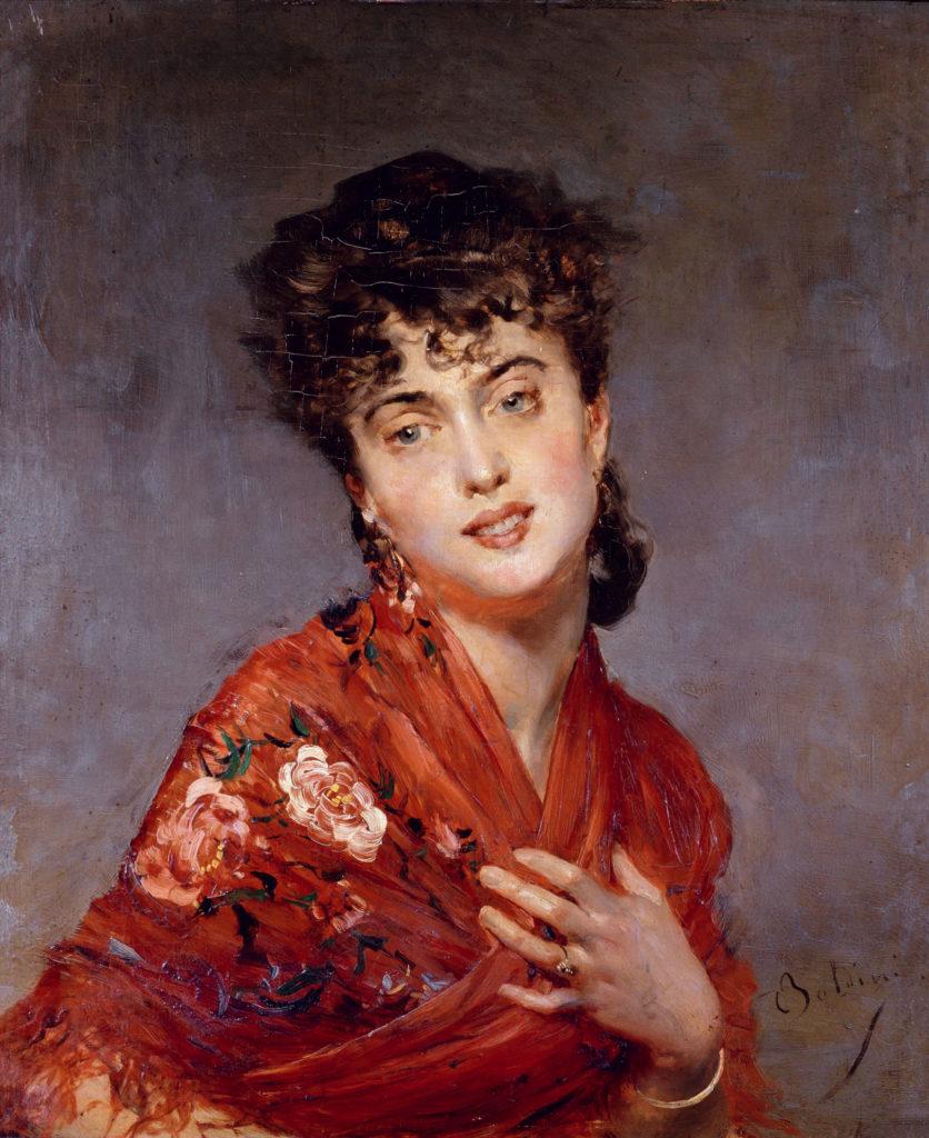 Giovanni Boldini. El mantón rojo, hacia 1880. Colección particular. Cortesía de Galleria Bottegantica, Milán