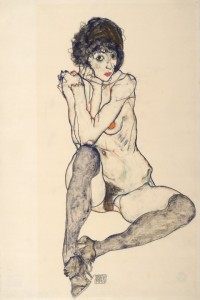 Egon Schiele. Seated Female Nude, Elbows Resting on Right Knee, 1914