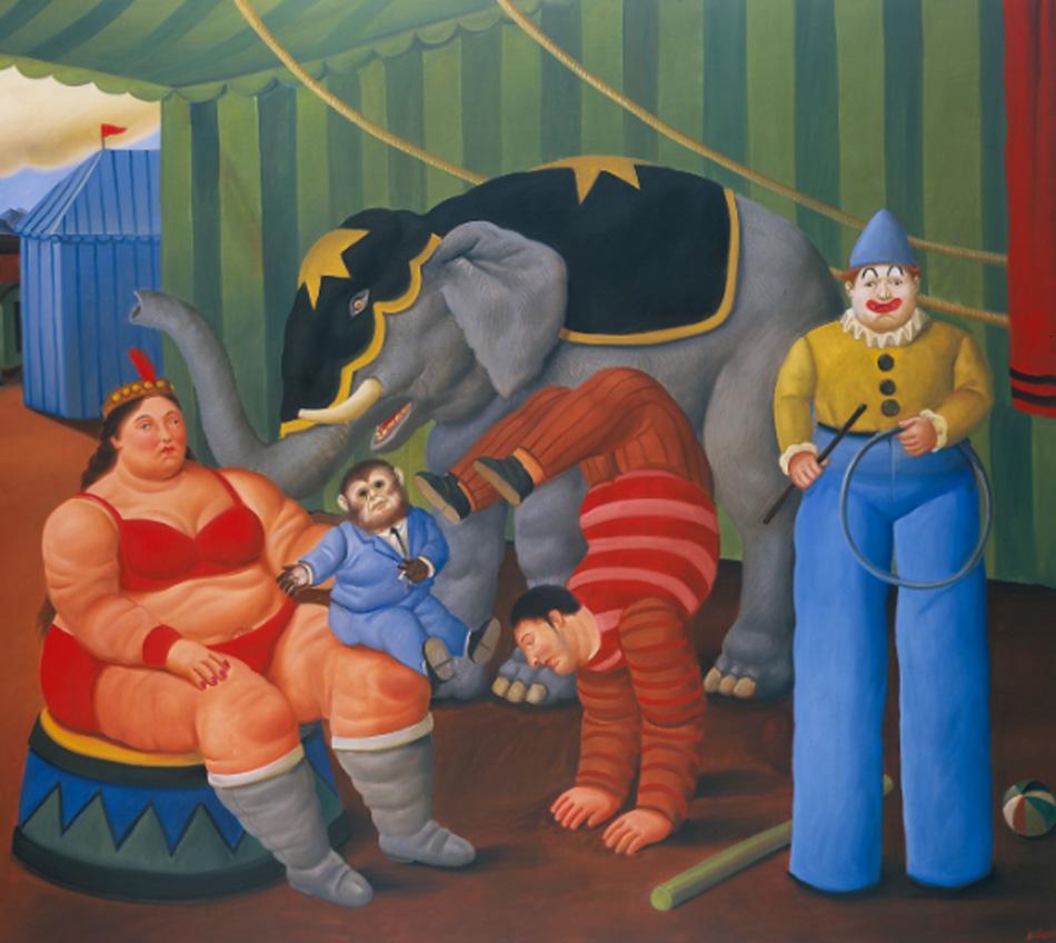 Fernando Botero. Gente del circo con elefante, 2007