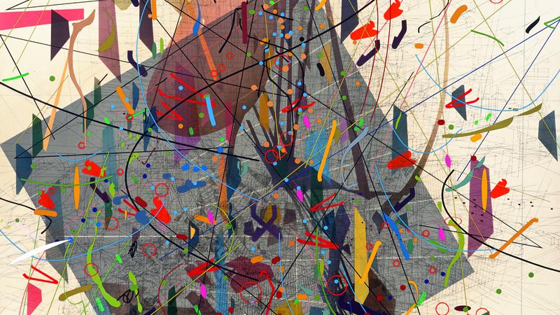 Julie Mehretu. Zero Canyon (a dissimulation), 2006. Cortesía de la artista y Marian Goodman Gallery, Nueva York. © Julie Mehretu