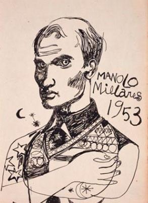 Manolo Millares. Autorretrato, 1953. © Manolo Millares. VEGAP, Santander, 2019